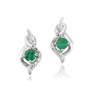 Jewelry - Round cut 4.80 carats emerald and diamonds Studs e